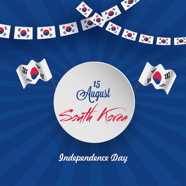 South korea independence day flyer design Premium Vector
