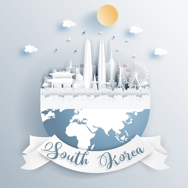 South korea landmarks on earth Premium Vector