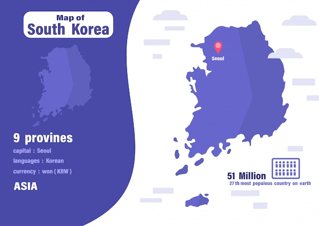 South korea map Vector | Premium Download