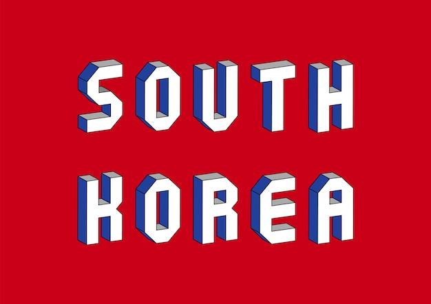 South korea text with 3d isometric effect Premium Vector