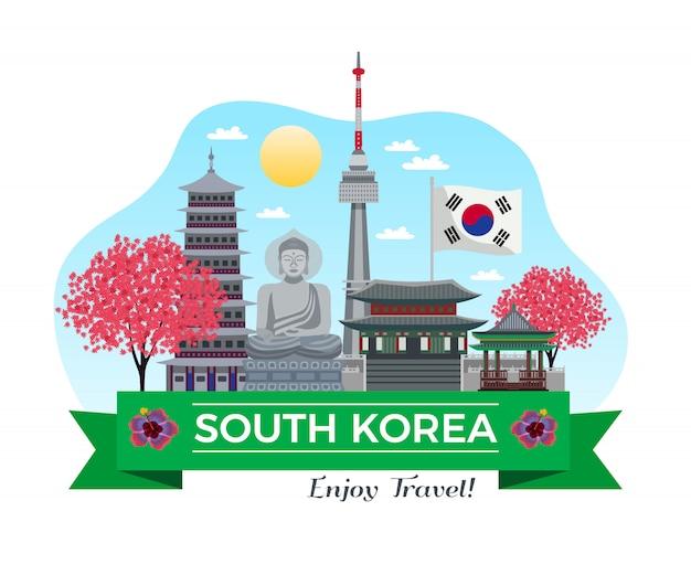 Южная корея туризма фон композиция с традиционными зданиями и достопримечательности с лентой и редактируемой текстовой линии иллюстрации Бесплатные векторы