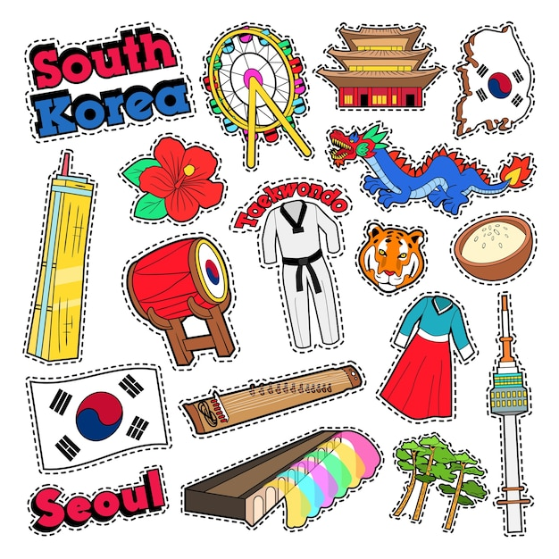 건축과 태권도와 한국 여행 요소. 벡터 낙서 프리미엄 벡터