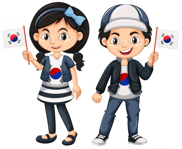 South korean boy and girl with flags Free Vector