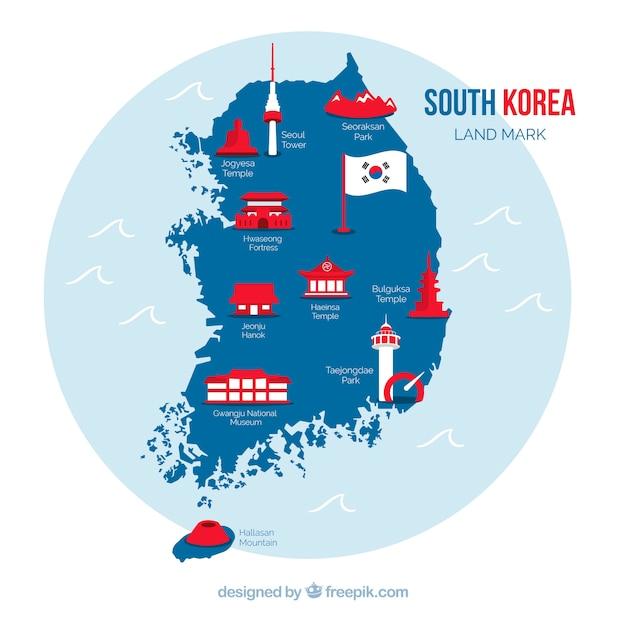 south korea map vector South Korean Map With Landmarks Free Vector