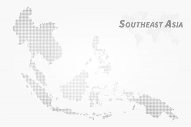 Southeast asia map. high detail dot design Premium Vector