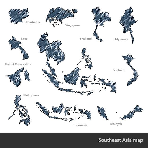 Southeast asia map Premium Vector