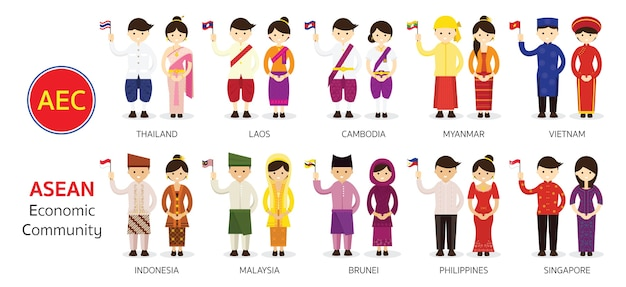 Southeast asian people in traditional clothing Premium Vector