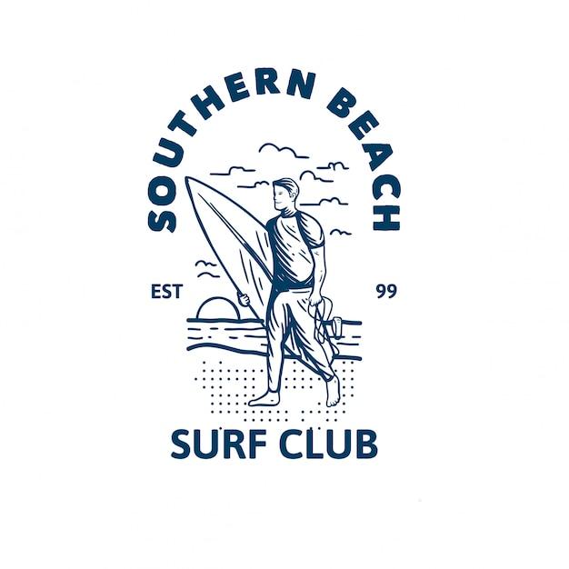 Southern beach surf club logo template Premium Vector