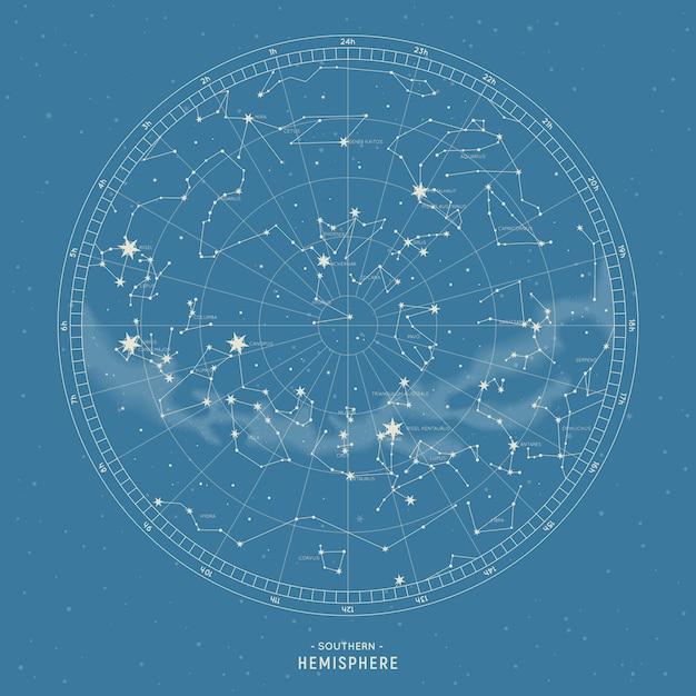 Southern hemisphere. star map of  constellations. Premium Vector