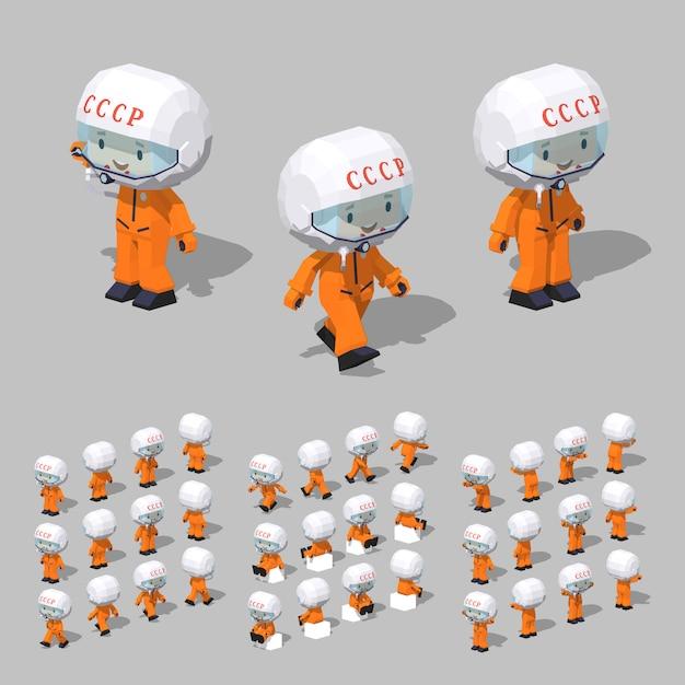 Soviet 3d lowpoly isometric cosmonaut Premium Vector