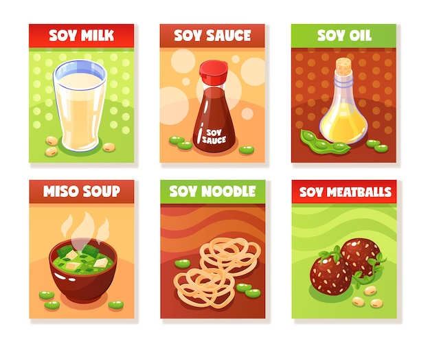 Soy food banners presenting milk sauce oil noodle meatballs miso soup products cartoon Free Vector