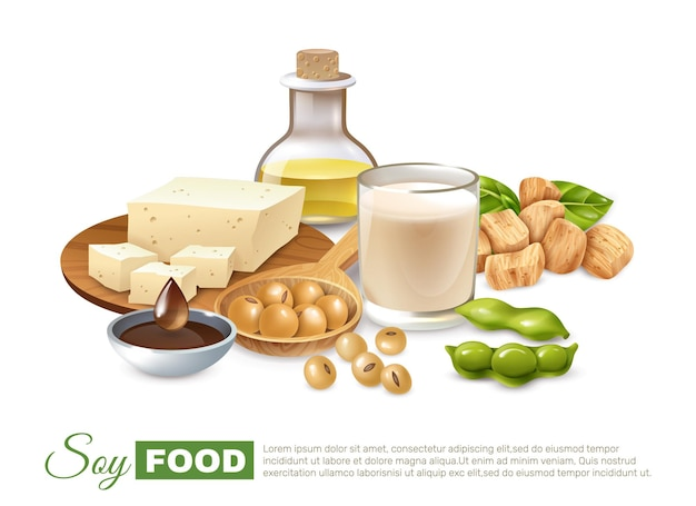 Soy food products poster with bean pods milk and meat tofu plant oil Free Vector