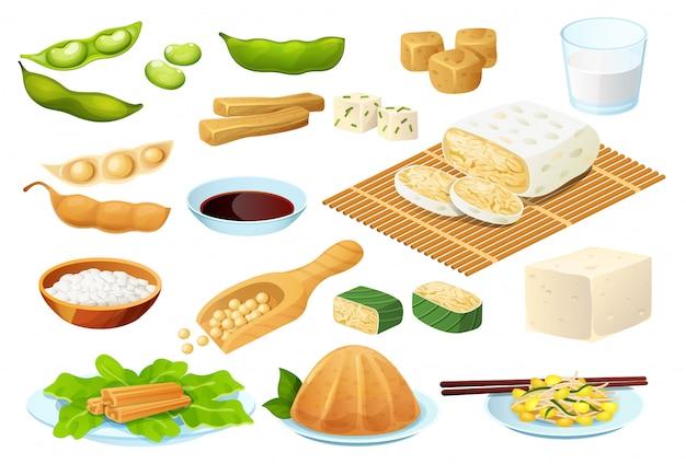 Соевая еда на белом, вегетарианская белковая мука, коллекция здорового питания, иллюстрация Premium векторы