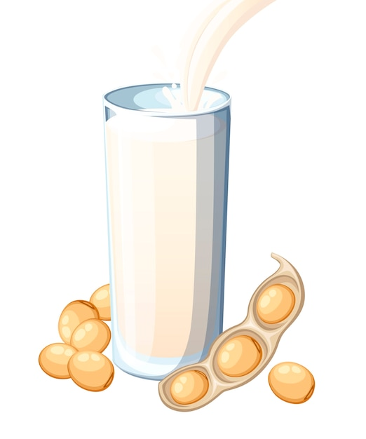 Soy milk pouring in drinking glass. soybean Premium Vector