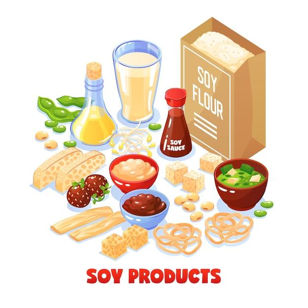 Insieme di concetto di prodotti di soia del pacchetto con farina di soia e piatti dal fumetto di soia Vettore gratuito