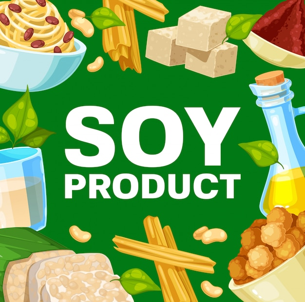 Soy products and soybean food, Premium Vector