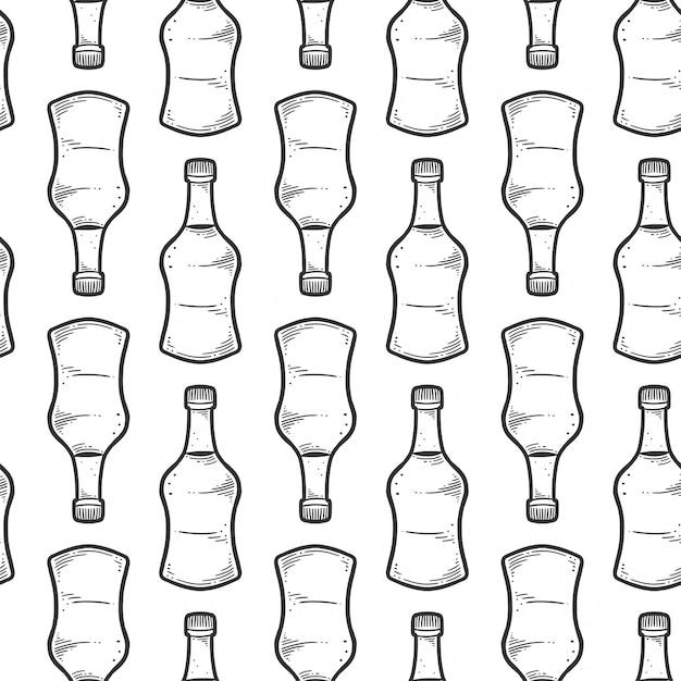 Soy sauce bottle seamless pattern Premium Vector