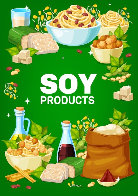 Soy and soybeans products  banner Premium Vector