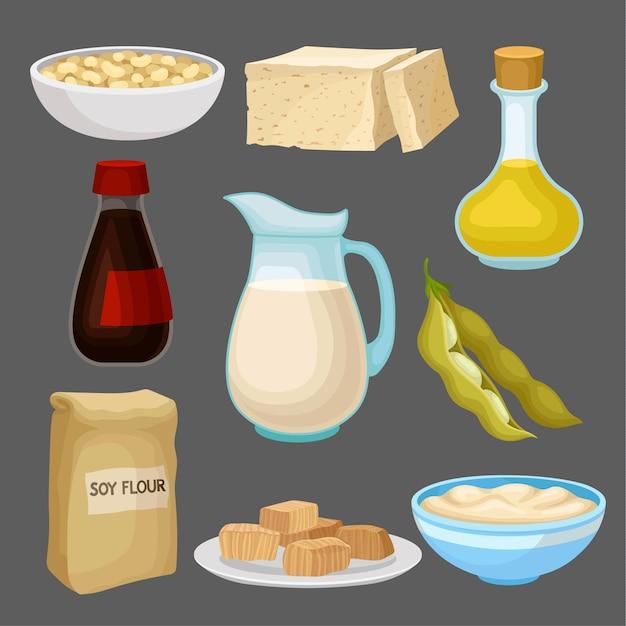 Soya food products set, milk, oil, sauce, tofu, bean, flour, healthy diet, organic vegetarian food  illustration Premium Vector