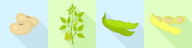 Soybean icons set, flat style Premium Vector