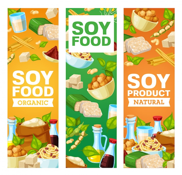 Soybean and soy products  banners. miso paste, soy sauce and tofu cheese, soybean milk and oil, flour, meat and skin, tempeh and sprouted beans. asian cuisine, vegetarian and vegan nutrition Premium Vector