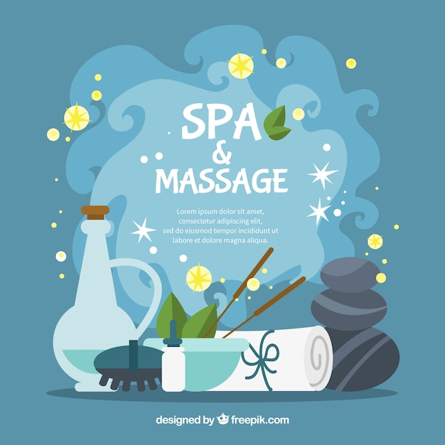 Spa and massage background in flat\ design