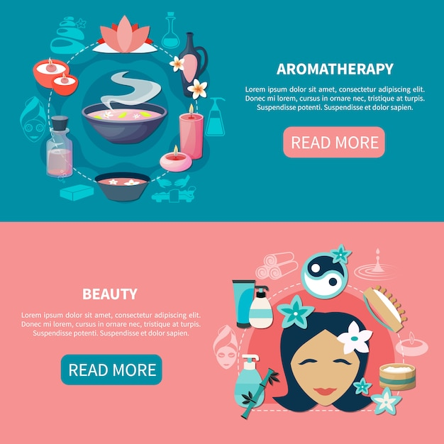 Spa aromatherapy beauty flat banners Free Vector