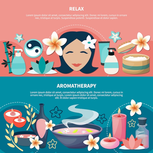 Spa aromatherapy relaxation flat banners Free Vector