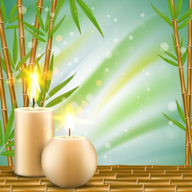 대나무와 아로마 촛불 현실적인 일러스트와 함께 스파 배경 프리미엄 벡터