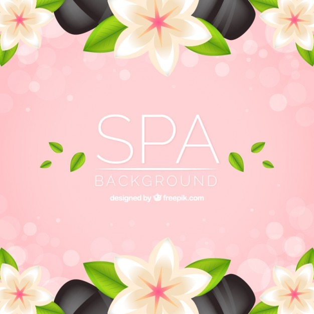 spa background with flowers and stones vector free download
