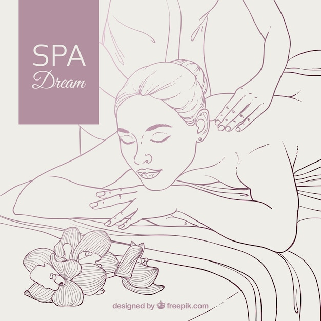 Spa background with woman relaxed