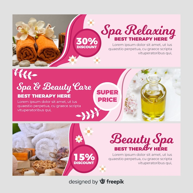 Spa banner collection with photo Free Vector