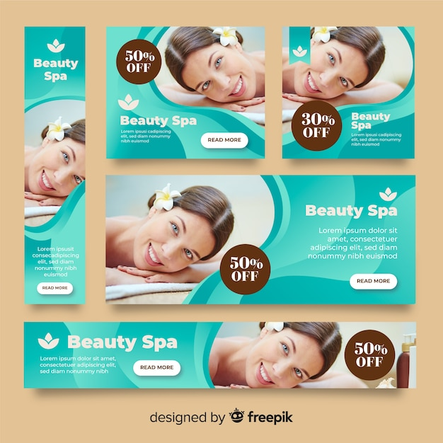 Spa banners collection with photo Free Vector