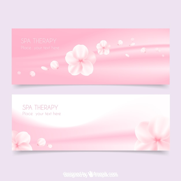 Spa banners in pink color with flowers Free Vector