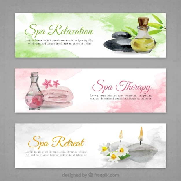 Spa banners set in watercolor effect Free Vector