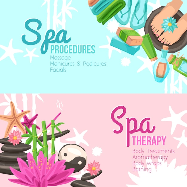 Spa banners set Free Vector