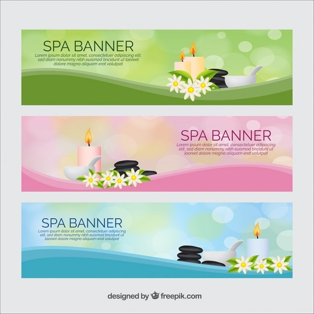 Spa banners with beauty products Free Vector