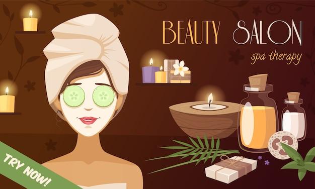 Spa beauty salon cartoon template Free Vector