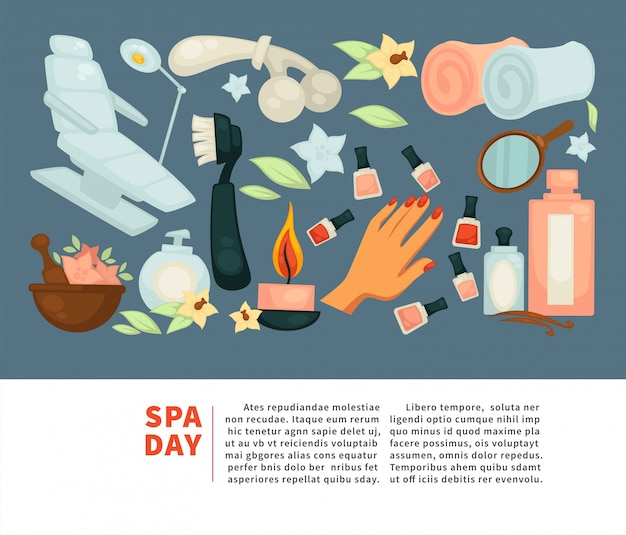 Spa body relax and woman skincare treatment vector flat poster Premium Vector