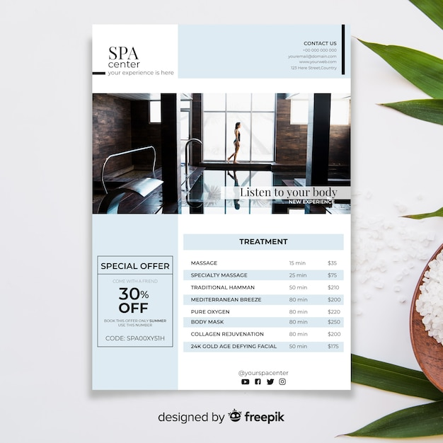 Spa brochure template with photo Free Vector