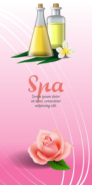 Spa brochure with rose, white tropical flower and massage oil on pink background. Free Vector