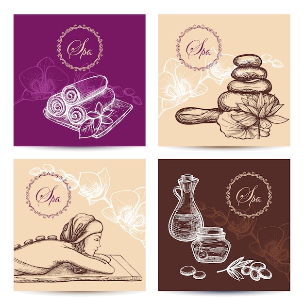 Spa cards set Free Vector