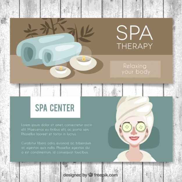 Spa center banners set Free Vector
