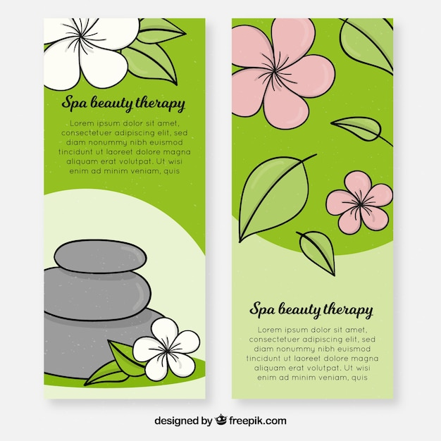 Spa center banners with treatments Free Vector