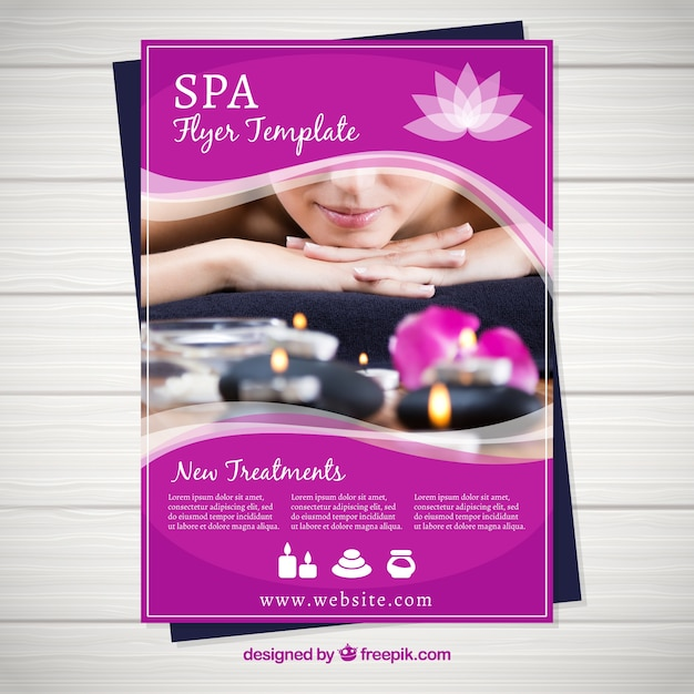 spa center flyer template vector free download