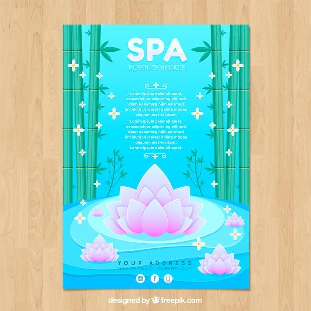 Volantino centro spa con bambù e fiori in stile piano Vettore gratuito