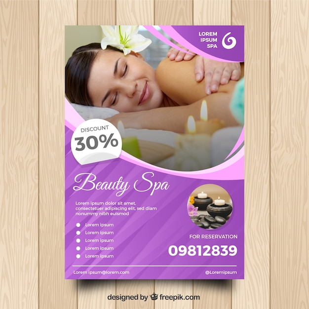 Spa center flyer with different treatments to relaxing Free Vector