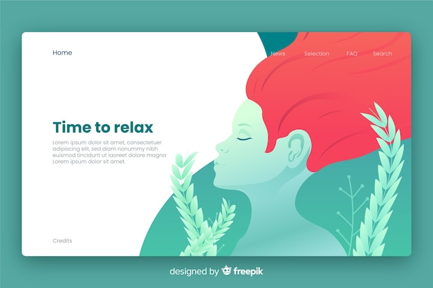 Spa center landing page template Free Vector