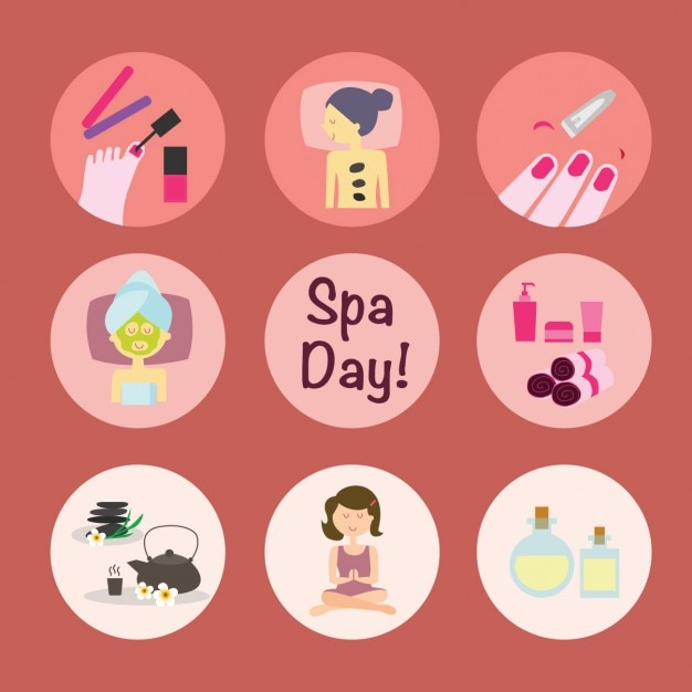 Spa Day Set Vector Free Download