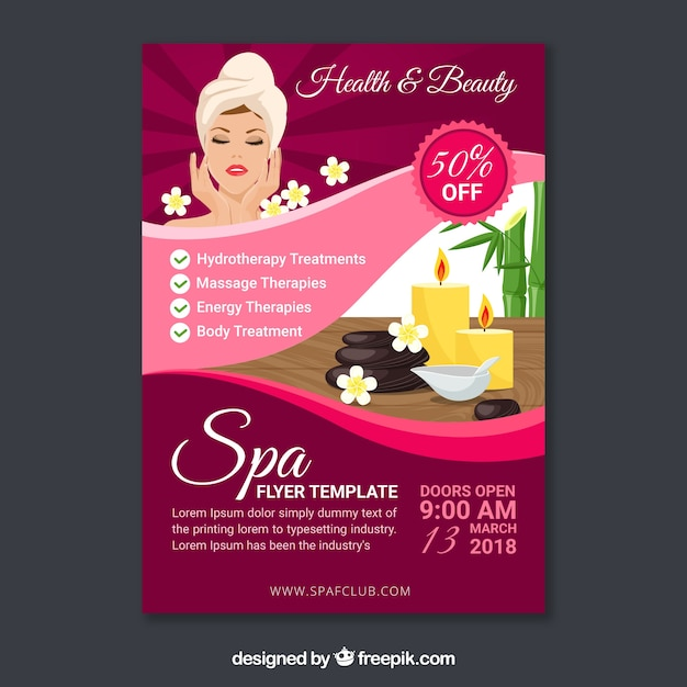Spa Flyer Template In Flat Design Vector Free Download